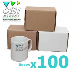 100 Super Strong Impact Resistant Cardboard Mug Mailers - Brown or White - Smash Proof